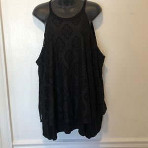Torrid Black Tank Top with Lace Overlay 3